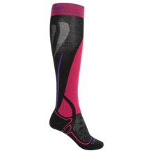 Bridgedale MerinoFusion Vertige Mid Ski Socks - Merino Wool, Mid Calf (For Women) in Black/Fuchsia - 2nds
