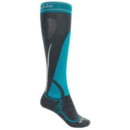 Bridgedale MerinoFusion Vertige Mid Ski Socks - Merino Wool, Mid Calf (For Women) in Gunmetal/Turquoise - 2nds