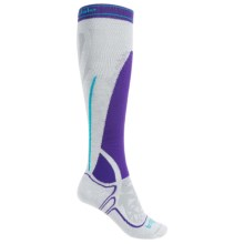 Bridgedale MerinoFusion Vertige Mid Ski Socks - Merino Wool, Mid Calf (For Women) in Purple/Grey - 2nds