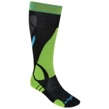 Bridgedale MerinoFusion Vertige Socks - Merino Wool, Mid-Calf (For Men) in Black/Green - 2nds