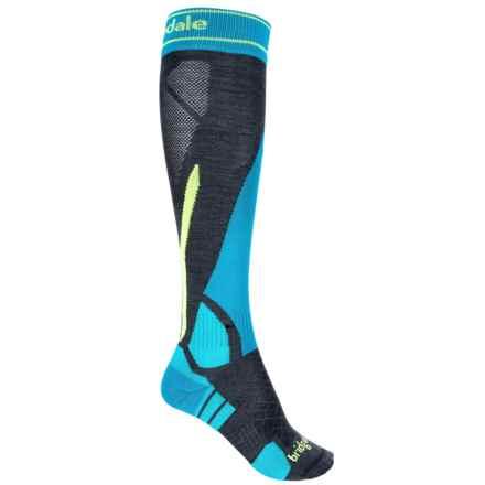 Bridgedale MerinoFusion Vertige Socks - Merino Wool, Mid Calf (For Men) in Charcoal/Fluro Yellow - 2nds