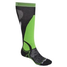 Bridgedale MerinoFusion Vertige Socks - Merino Wool, Mid Calf (For Women) in Black/Green - Closeouts