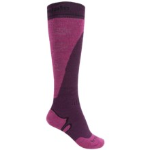 Bridgedale Mountain Ski Socks - Merino Wool, Over the Calf (For Women) in Plum/Berry - 2nds