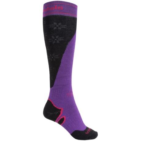 Bridgedale Mountain Ski Socks - Merino Wool, Over the Calf (For Women) in Purple/Black
