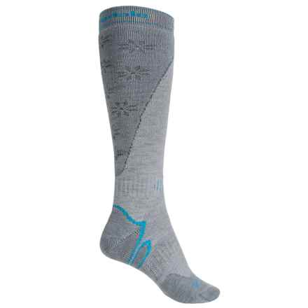 Bridgedale Mountain Ski Socks - Merino Wool, Over the Calf (For Women) in Stone/Grey - 2nds