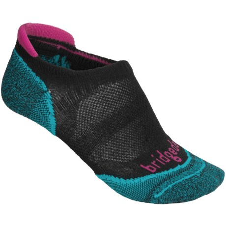 Bridgedale Na-Kd No-Show Socks - Lightweight (For Women) in Black/Turquoise