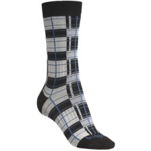 Bridgedale Plaid Socks - Rayon, Crew (For Women) in Natural/Blue Plaid - 2nds