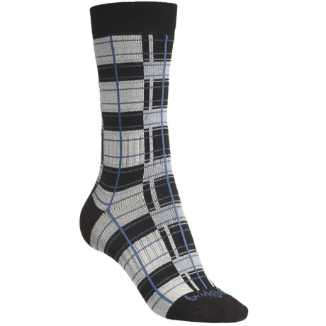 Bridgedale Plaid Socks - Rayon, Crew (For Women) in Natural/Blue Plaid
