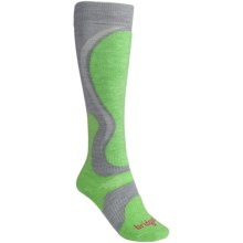 Bridgedale Precision Ski Socks - Merino Wool (For Women) in Dove Grey/Apple - 2nds