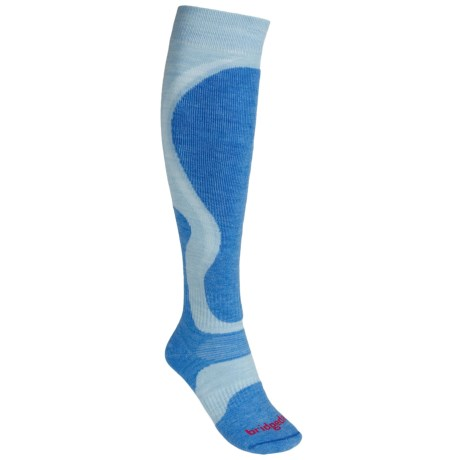 Bridgedale Precision Ski Socks - Merino Wool (For Women) in Ice Blue/Sky Blue
