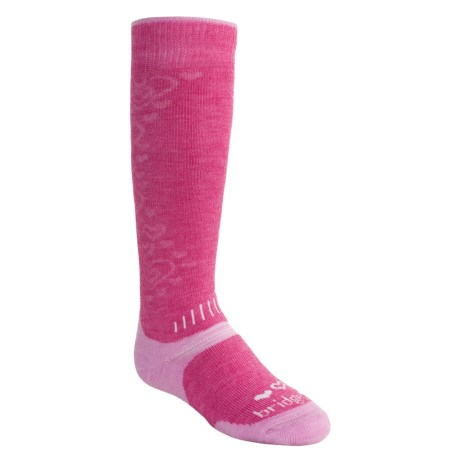 Bridgedale Snowsport Socks - Merino Wool (For Toddlers) in Dark Pink/Light Pink