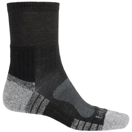 Bridgedale Trail Light Socks - New Wool, Quarter Crew (For Men) in Black/Silver