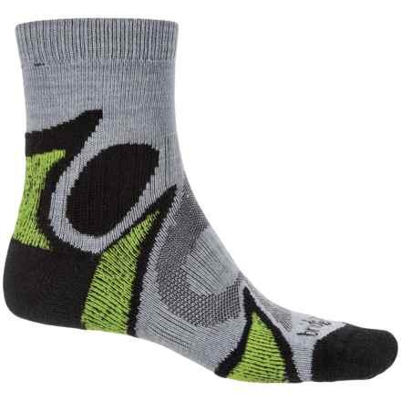 Bridgedale Trailhead CoolFusion® Socks - Merino Wool, Quarter Crew (For Men) in Black/Green - Closeouts