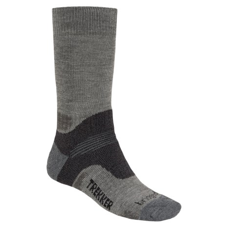 Bridgedale Trekking Socks - New Wool Blend, Midweight (For Men and Women) in Grey Heather/Charcoal