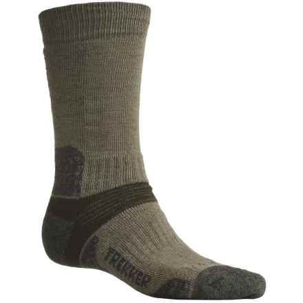 Bridgedale Trekking Socks - New Wool, Mid Calf (For Men and Women) in Olive/Blue Green Marl - 2nds