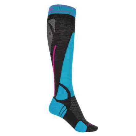 Bridgedale Vertige Light Ski Socks -Merino Wool Blend, Over the Calf (For Women) in Black/Blue - 2nds