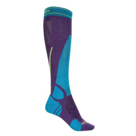 Bridgedale Vertige Light Ski Socks -Merino Wool Blend, Over the Calf (For Women) in Purple/Blue - 2nds