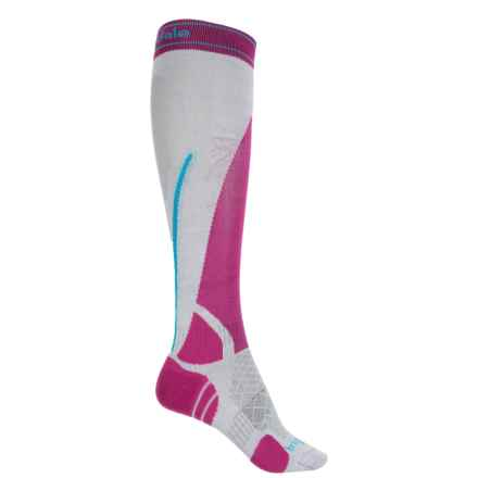 Bridgedale Vertige Light Ski Socks -Merino Wool Blend, Over the Calf (For Women) in Silver/Pink - 2nds