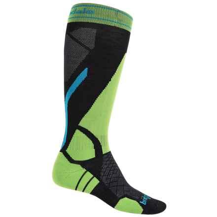 Bridgedale Vertige Light Ski Socks - Merino Wool, Mid Calf (For Men) in Black/Lime - 2nds