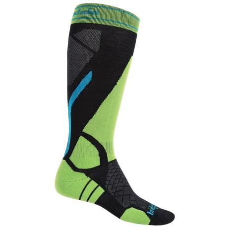 Bridgedale Vertige Light Ski Socks - Merino Wool, Mid Calf (For Men) in Black/Lime