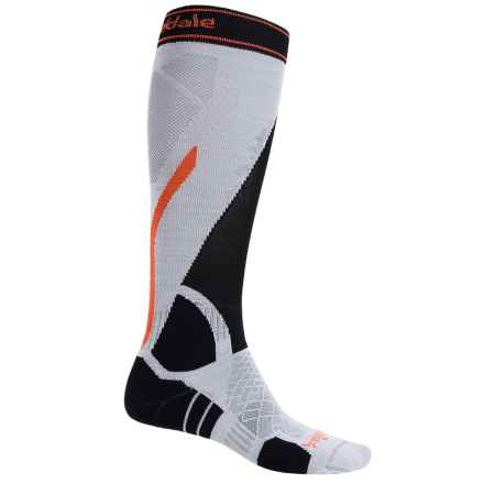 Bridgedale Vertige Light Ski Socks - Merino Wool, Mid Calf (For Men) in Silver/Black - 2nds