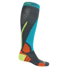 Bridgedale Vertige Light Ski Socks - Merino Wool, Mid Calf (For Men) in Turquoise/Charcoal - 2nds
