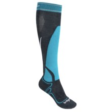 Bridgedale Vertige MerinoFusion Midweight Socks - Merino Wool, Over the Calf (For Women) in Gunmetal/Turquoise - 2nds