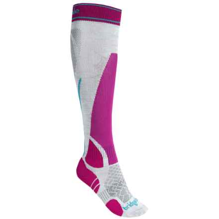 Bridgedale Vertige MerinoFusion Socks - Merino Wool, Over the Calf (For Women) in Silver/Pink - 2nds