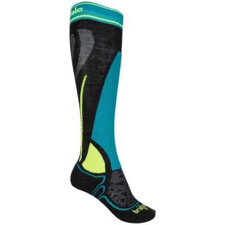 Bridgedale Vertige Racer Junior Ski Socks - Merino Wool, Over the Calf (For Little and Big Kids) in Black/Fluro Yellow - 2nds