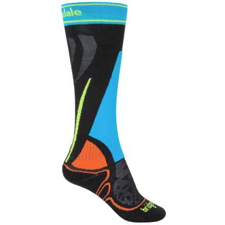 Bridgedale Vertige Racer Winter Sport Socks - Merino Wool Blend, Crew (For Big Kids) in Black/Multi - Closeouts