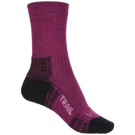 Bridgedale WoolFusion Trail Hiking Socks - Crew (For Women) in Berry - Closeouts