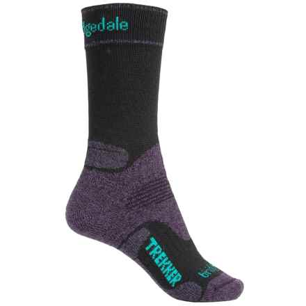 Bridgedale WoolFusion Trekker Boot Socks - Crew (For Women) in Black/Purple - 2nds