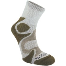 Bridgedale X-Hale Trailhead Socks - Merino Wool, Quarter Crew (For Men and Women) in Hemp/Olive - 2nds