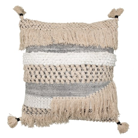 Image of Bridget Tassel Natural Textured Throw Pillow - 20x20? Feathers
