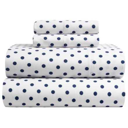 Brielle Flannel Sheet Set - King in Navy Polka-Dot - Closeouts