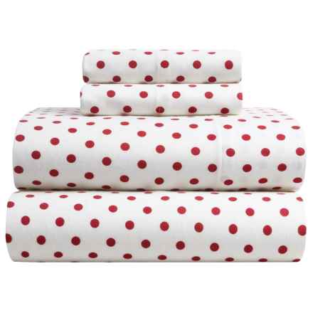 Brielle Flannel Sheet Set - Queen in Red Polka-Dot - Closeouts