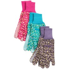 Briers Garden Gloves with Grip Dots - 3-Pack in Daisy Lavendar/Pink/Blue - Closeouts
