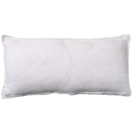 Image of Bright White Lorianna Linen Throw Pillow - 14x26? Feathers