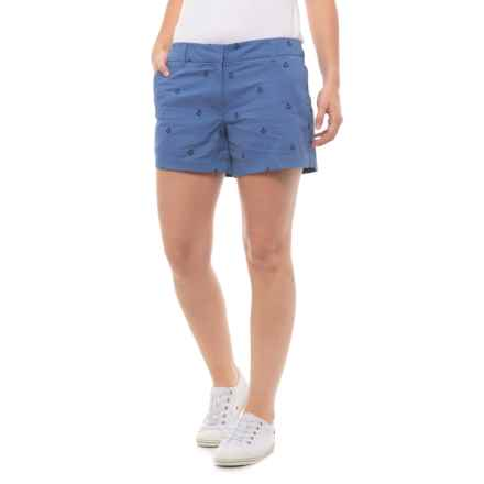 British Khaki Embroidered Cotton Shorts (For Women) in Heritage Blue/Navy Anchor - Closeouts
