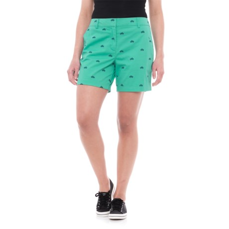 "British Khaki Embroidered Shorts - 6"" (For Women) in Cockatoo Green/Indigo Dream Bike"