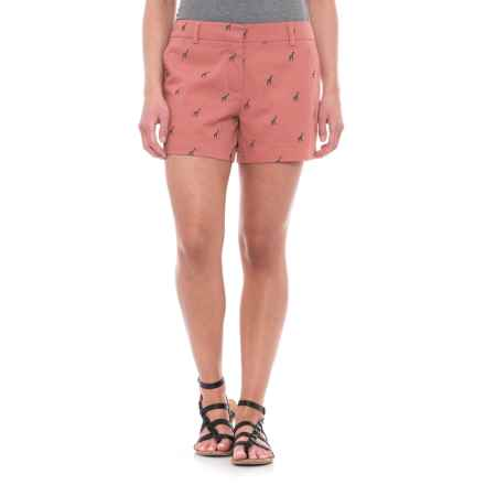 British Khaki Embroidered Shorts (For Women) in Baked Coral/Horizon Navy Giraffe - Closeouts