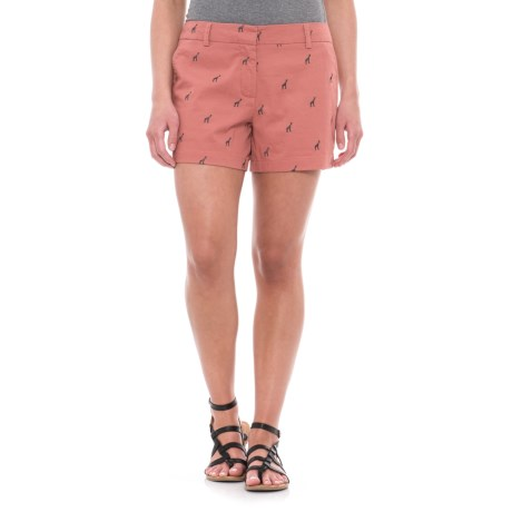 British Khaki Embroidered Shorts (For Women) in Baked Coral/Horizon Navy Giraffe