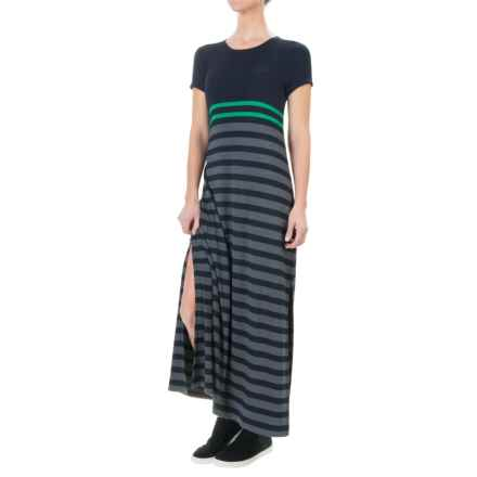 British Khaki Jersey Stripe Long Dress - Short Sleeve (For Women) in Kelly/Dark Grey/Navy - Overstock