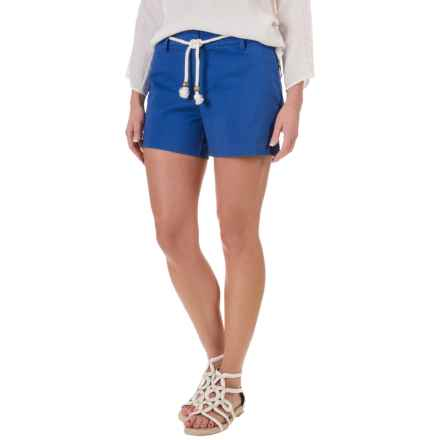 British Khaki Pinstripe Peached Shorts - Flat Front (For Women) in Lapis - Overstock