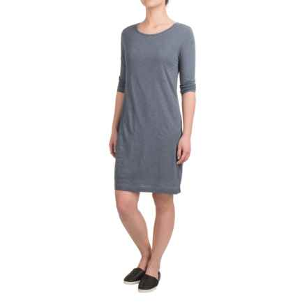 British Khaki Slub-Knit Shift Dress - 3/4 Sleeve (For Women) in Steel Blue - Overstock