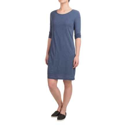 British Khaki Slub-Knit Shift Dress - 3/4 Sleeve (For Women) in Storm Blue - Overstock