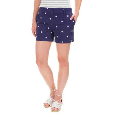 British Khaki Stretch Embroidered Sateen Shorts (For Women) in Navy - Closeouts