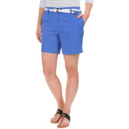 British Khaki Stretch Solid Sateen Shorts (For Women) in Happy Blue - Closeouts