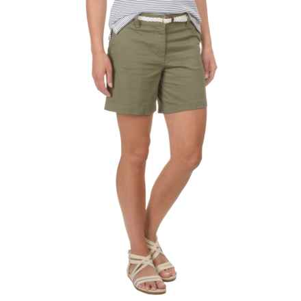 British Khaki Stretch-Woven Shorts with Braided Belt (For Women) in Olive - Closeouts