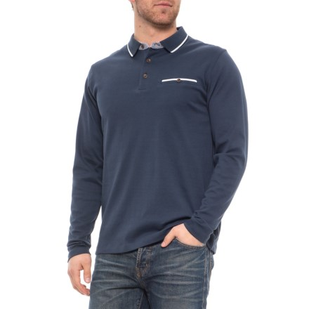 13ead078 British Polo Cooper Polo Shirt - Long Sleeve (For Men) in Navy - Closeouts